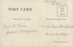 1910 ca. CAT Cambridge MINN Love to Elsie from Maymu and kitten RPPC back