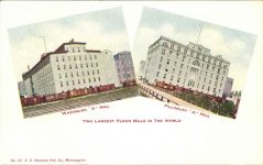 "1910 ca. Minneapolis, MINN WASHBURN ""A"" MILL and PILLSBURY ""A"" MILL postcard front"
