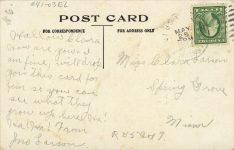 1914 5 25 Elbow Lake, MINN The Parsnips Grown at postcard back