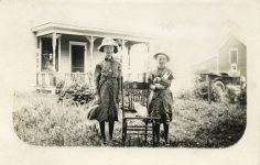 1915 ca. CAT Two standing young girls with chair and two cats RPPC front