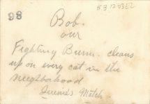 1925 ca. CAT Bob our Fighting Bum 2″×3″ snapshot back