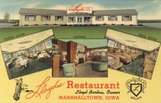 1940 ca. MARSHALLTOWN, IOWA Lloyd's Restaurant postcard front