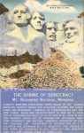 1940 ca. MT. RUSHMORE, SD THE SHRINE OF DEMOCRACY postcard front