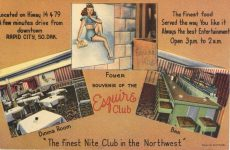 1940 ca. RAPID CITY, SO DAK Esquire Club postcard front