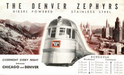 1940 ca. THE DENVER ZEPHYRS trains postcard front