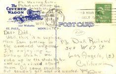 1947 4 17 St. Paul, MINN THE COVERED WAGON postcard back