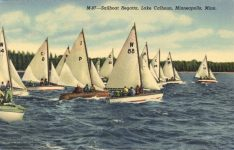 1950 ca. Minneapolis, MINN Lake Calhoun Sailboat Regatta M-97 postcard front