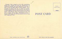 1950 ca. Rapid City, SOUTH DAKOTA Dinosaur Park 103 postcard back