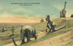 1950 ca. Rapid City, SOUTH DAKOTA Dinosaur Park 103 postcard front