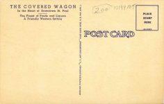 1950 ca. St. Paul, MINN THE COVERED WAGON postcard back