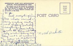 1955 ca. Minneapolis-St Paul, MINN Metropolitan Airport M-81 postcard back