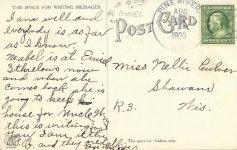 1909 8 24 WIS, Pine River Street Fair postcard back
