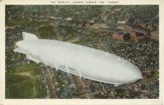 1945 8 31 AIRSHIP AKRON WORLD'S LARGEST postcard front