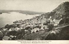 1915 ca. WIS, Fountain City Among the vine clad hills Burlington Route postcard front