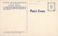 1940 ca. WIS, Milwaukee CLUB MILWAUKEAN postcard back