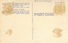 1940 ca. WIS, Milwaukee RED ROOM BAR postcard back