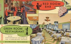 1940 ca. WIS, Milwaukee RED ROOM BAR postcard front