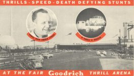 1950 THRILLS SPEED DEATH DEFYING STUNTS 7″×4″ card front