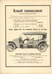 1911 6 28 Renault Announcement THE HORSELESS AGE 9″×12″ Inside front cover