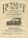 1910 6 22 RENAULT $5800 Complete THE HORSELESS AGE 9″×12″ Inside front page