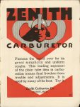 1916 8 1 ZENITH CARBURETOR THE HORSELESS AGE 9″×12″ Inside back cover