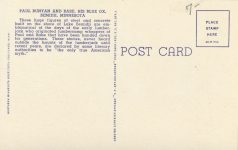 1940 ca. MINN Bemidji PAUL BUNYON AND HIS BLUE OX BABE sculpture postcard back