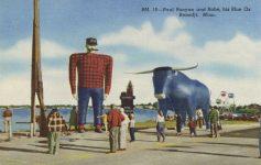 1940 ca. MINN Bemidji PAUL BUNYAN AND HIS BLUE OX BABE sculpture postcard front
