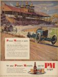 1951 Barney Oldfield racing and Pleasant Moments Whiskey ad 9.5×12.5″