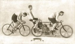 1901 Tandem ORIENT Motorcycle Will C. Stinson 40 Mile an Hour Man photo RE-touched photo