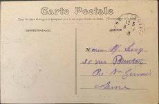 1910 ca. RENAULT 1632 Circuit de Dieppe Szisz sur voiture Renault postcard back screenshot