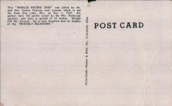 1950 ca. WIS, Rice Lake WORLD'S RECORD DEER Friendly Buckhorn 27757 postcard screenshot back