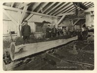 1913 MINN Skibo SKIBO Timber Company saw mill crew interior Roleff photo 8.5″×6.5″
