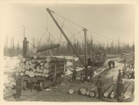 1915 ca. Early winter timber harvesting Roleff photo 8.5″×6.5″