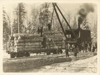 1915 ca. Winter timber harvesting rail car Roleff photo 8.5″×6.5″